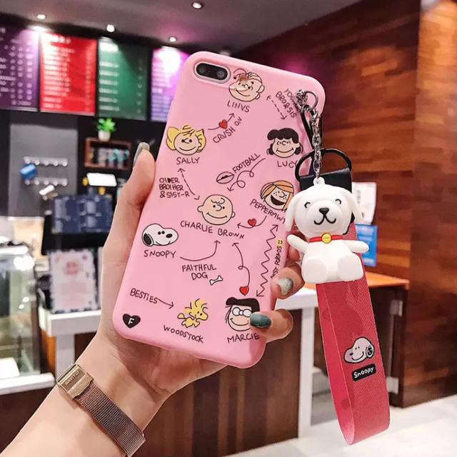 新作❤️ iPhoneケース スタンドストラップ付き ♡ スヌーピー ピンクの通販 by p shop|ラクマ
