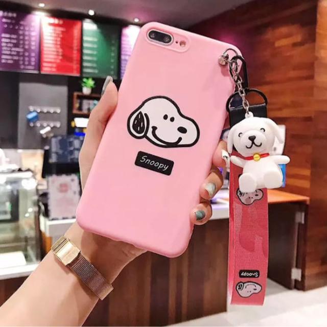 新作❤️ iPhoneケース スタンドストラップ付き ♡ ピンク スヌーピーの通販 by p shop|ラクマ