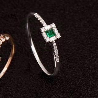 新品 エメラルド  ダイヤモンド リング K18(リング(指輪))