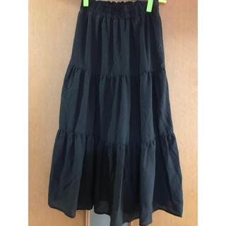 シマムラ(しまむら)のしまむら ティアードロングスカート 黒(ロングスカート)