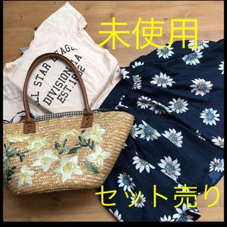 シマムラ(しまむら)の 未使用2点セット!花柄スカート、ティシャツセット(Tシャツ(半袖/袖なし))