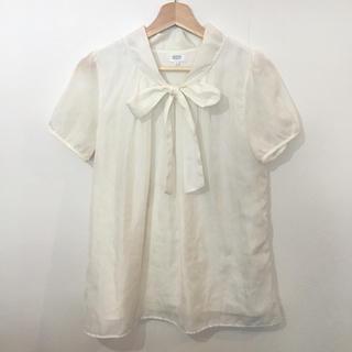 シフォンレース 襟元リボン 半袖 ブラウス(シャツ/ブラウス(半袖/袖なし))