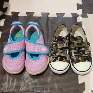 ホーキンス(HAWKINS)のカモフラスニーカー&HAWKINSサンダル ピンク 靴2点セット☆16cm (スニーカー)