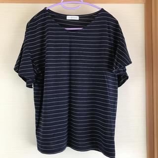 シマムラ(しまむら)のフリルスリーブTシャツ 半袖 ボーダー ネイビー 2L(Tシャツ(半袖/袖なし))
