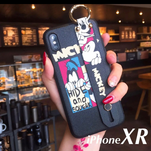 シャネル ケース 、 【新品】ディズニー ミッキー ハンドベルト付き iPhone XRケースの通販 by kaz@iPhone |ラクマ