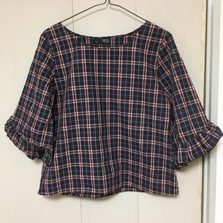 シマムラ(しまむら)のしまむら ミラクルクローゼット チェックシャツ☆M(シャツ/ブラウス(半袖/袖なし))