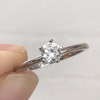 リング 指輪 一粒 CZ ダイヤ 15号 ホワイトゴールド シンプル(リング(指輪))