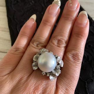 大粒真珠ホワイトK18リング&ピアスセット 刻印あり(リング(指輪))