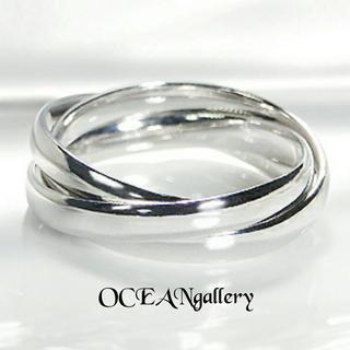 送料無料 20号 シルバーサージカルステンレス三色リング 指輪 トリニティリング(リング(指輪))