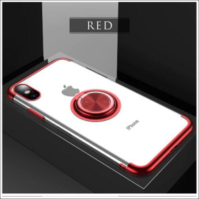 apple iphone xs max ケース 、 TPUスマホリングiPhoneケース メタリックレッドの通販 by TKストアー |ラクマ