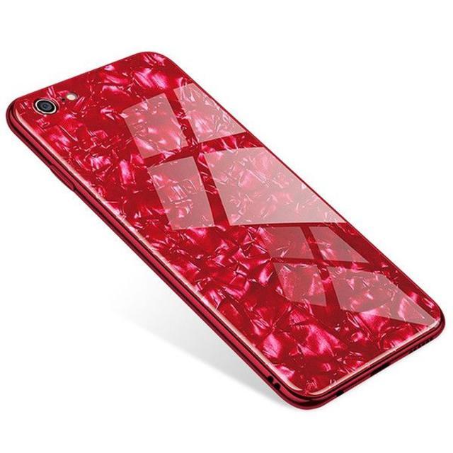 大理石柄 クリスタル シェル ケース iPhone7/8 レッドの通販 by TKストアー |ラクマ