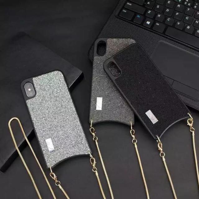 iphone ケース iphonex / iPhoneケース キラキラチェーン付き 斜めがけ の通販 by PANDORA|ラクマ