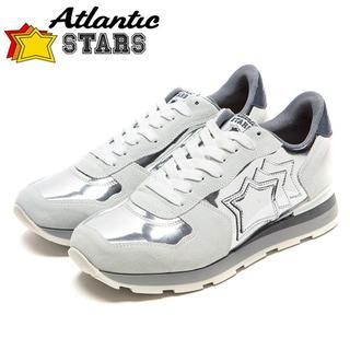 【129】Atlantic STARSグレー×メタリックシルバースニーカー41(スニーカー)
