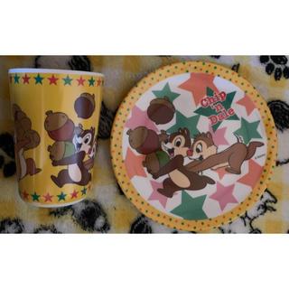 チップアンドデール(チップ&デール)のチップとデール メラミンプレートとコップのセット ④(食器)