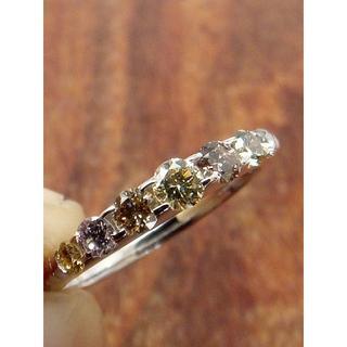 asamamaさま専用!マルチカラーのダイヤ!K18WGダイヤリング 11.5号(リング(指輪))
