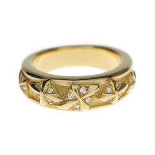 ビルウォールレザー(BILL WALL LEATHER)のBWLビルウォール レザーラッキークロスストーンゴールドバンドリング指輪金石(リング(指輪))