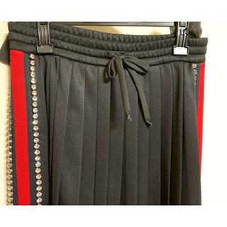 グッチ(Gucci)の●GUCCIグッチビジュー装飾プリーツジャージスカートXS(ロングスカート)
