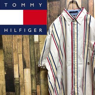 トミーヒルフィガー(TOMMY HILFIGER)の【激レア】トミーヒルフィガー☆オールド刺繍ロゴ半袖マルチストライプシャツ 90s(シャツ)