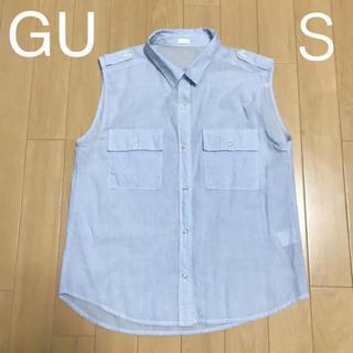 ジーユー(GU)のノースリーブシャツ 袖なし シャツ レディース  GU 水色(シャツ/ブラウス(半袖/袖なし))