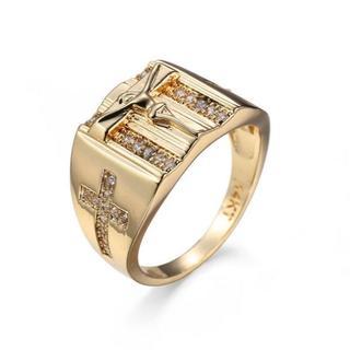 【送料無料】Gold Plated Religious Cross Ring(リング(指輪))