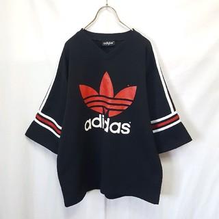 アディダス(adidas)の★old adidas ジャージ Vネック ビッグロゴ Tシャツ(Tシャツ/カットソー(半袖/袖なし))