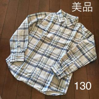ユニクロ(UNIQLO)の美品 UNIQLO ユニクロ チェックシャツ 長袖シャツ 男の子 130 ガーゼ(ブラウス)