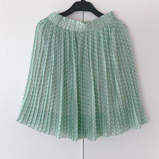 シマムラ(しまむら)の水玉パステルグリーン プリーツスカート(ひざ丈スカート)
