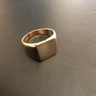 スクエアリング 印台 ゴールド 指輪 リング シンプル 鏡面仕上げ(リング(指輪))