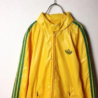 アディダス(adidas)のナイスカラー! 80s adidas ナイロンジャケット パーカー 黄色 緑 L(ナイロンジャケット)