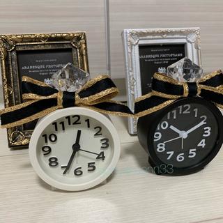フランフラン(Francfranc)のライト付時計★寝室にリボン付き目覚まし時計 アラーム インテリア(置時計)