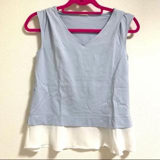 ジーユー(GU)のジーユー シフォン トップス タンクトップ フリル 水色 サックス(シャツ/ブラウス(半袖/袖なし))