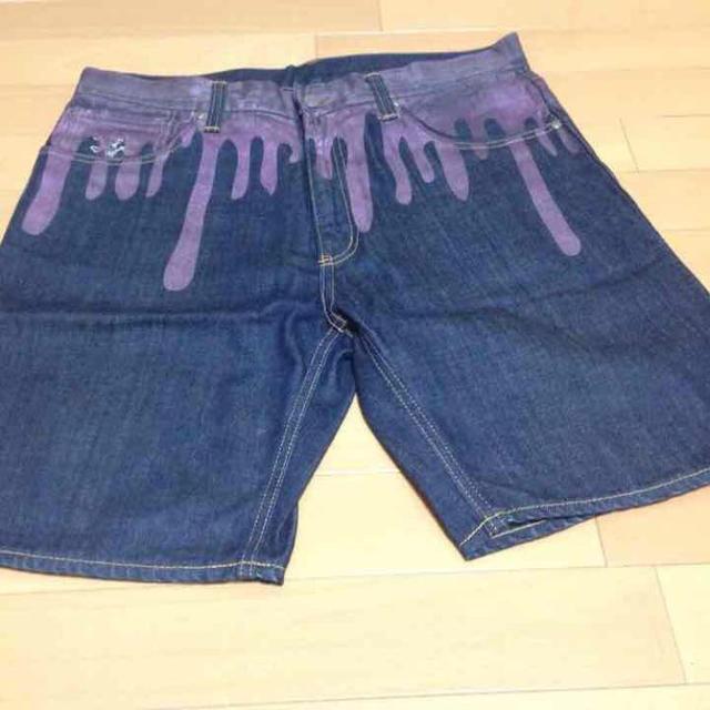 BBC(ビリオネアボーイズクラブ)の ドリップデニム ハーフ パープル メンズのパンツ(デニム/ジーンズ)の商品写真
