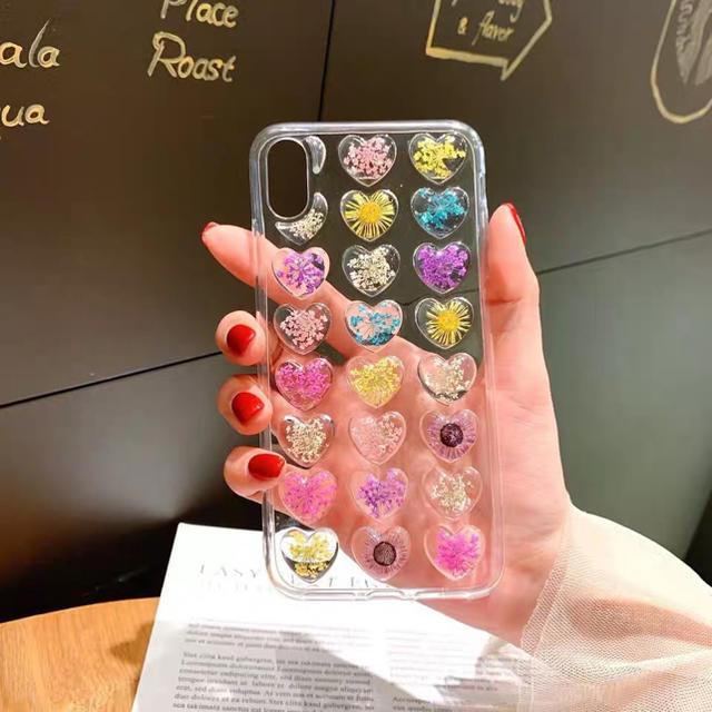 iPhoneX  iPhoneXS専用ケース ぷくぷく 押花 ハート の通販 by セール実施中 |ラクマ