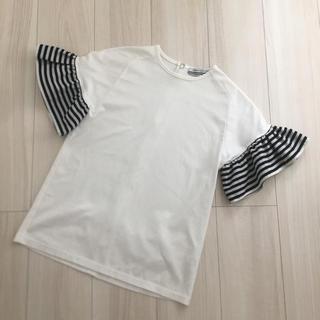 ドゥロワー(Drawer)のボーダーズアットバルコニー ラッフルスリーブT(Tシャツ(半袖/袖なし))
