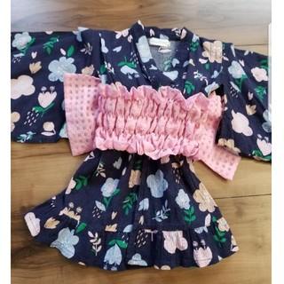 アンパサンド 帯付 花柄 ワンピース 浴衣