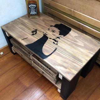 木目調シンプルモノトーンアンティークテーブル(ローテーブル)