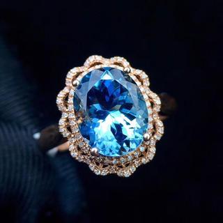 【高級宝石】天然アクアマリン ダイヤ リング(リング(指輪))
