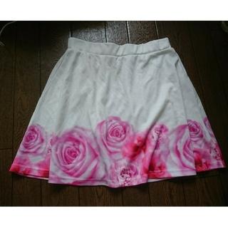 ユメテンボウ(夢展望)のミニスカート 白 花柄 LL(ミニスカート)