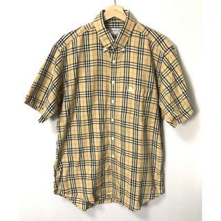 バーバリー(BURBERRY)の【H】バーバリーズ ノバチェック ロゴ刺繍 半袖シャツ ベージュ L(シャツ)