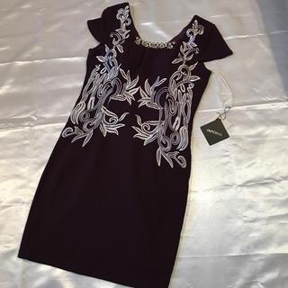IMPERIAL◆新品タグ付き◆紫+刺繍袖付きミニドレス◆上質S(ミニドレス)
