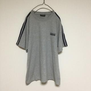 アディダス(adidas)のadidas Tシャツ 90s 黒タグ グレー 灰色 三本線 無地(Tシャツ/カットソー(半袖/袖なし))