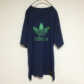 アディダス(adidas)のadidas メッシュ Tシャツ 刺繍  グリーン ロゴ ネイビー 紺色(Tシャツ/カットソー(半袖/袖なし))