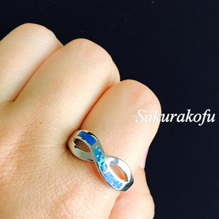 21号 メンズにもおすすめ ブルー ファイアオパール リング 指輪 レディース(リング(指輪))