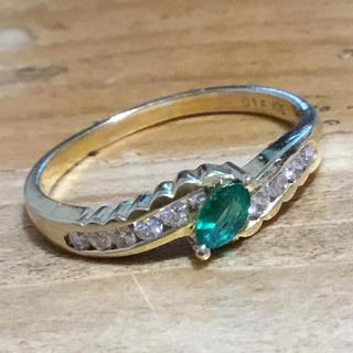 マーキスカット❗️エメラルド&ダイヤモンドリング 指輪15号 ゴールド K18(リング(指輪))