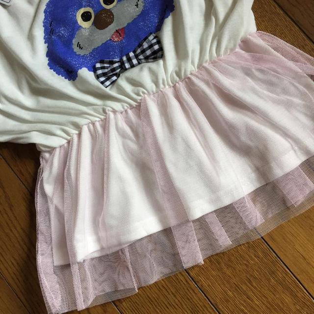 しまむら(シマムラ)の新品 ドルマン型 チュール チュニック キッズ/ベビー/マタニティのキッズ服 女の子用(90cm~)(Tシャツ/カットソー)の商品写真