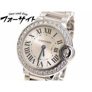 カルティエ(Cartier)のカルティエ☆バロンブルー 28mm K18 WG ダイヤ ベゼル クォーツ 時計(腕時計)