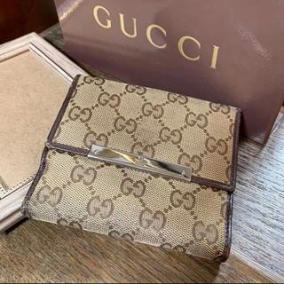 1c2db4e58c96 グッチ(Gucci)のGUCCI Wホック折財布 モノグラム キャンバス レザー ブラウン系(