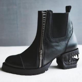 ヨウジヤマモト(Yohji Yamamoto)のhazama宣戦布告のヒールブーツ黒×黒(ブーツ)