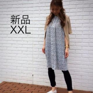 ジーユー(GU)の新品タグ付き GU 2019ss プリントギャザーロングチュニック ワンピース(ひざ丈ワンピース)
