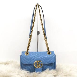 fdf56f97f437 グッチ(Gucci)のグッチ GGマーモント ショルダーバッグ ブルー (ショルダーバッグ)